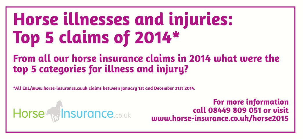 Owning a horse is a lifestyle choice requiring dedication, time, graft, love and financial investment. As a horse insurance company we end up with an unique insight into the lives of horse owners and their steeds, sadly this insight is often due to claims relating to illness and injury. So we taken a look at last years claims and here are the results - hopefully they will be educational and equip you with the knowledge of the most common things to look out for.   Scroll through the slides to find out what the top 5 were using the numbers below or the navigation arrows.